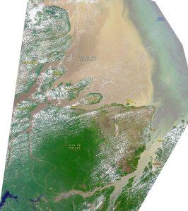 Foz do Amazonas, imagem da Nasa. Observe a quantidade de água barrenta lançada no Atlântico