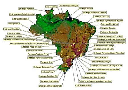 EMBAPA, por onde estão espalhados os centros de pesquisas
