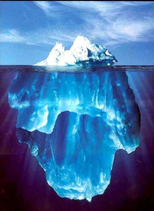Iceberg,apenas uma fração está na superfície
