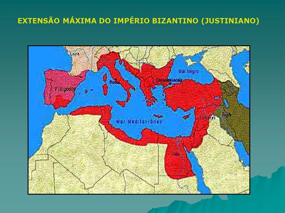EXTENSÃO MÁXIMA DO IMPÉRIO BIZANTINO (JUSTINIANO)