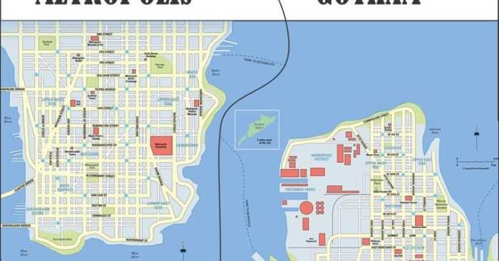 gotham e metropilis mapa